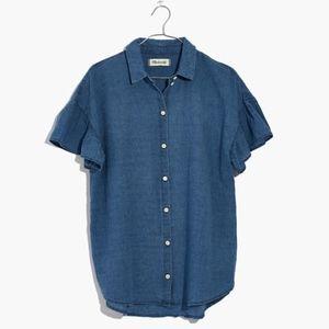 madewell central ruffle-sleeve shirt in indigo